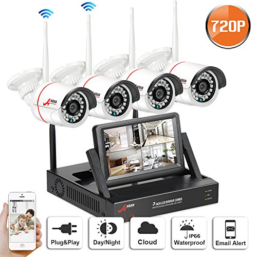 Wifi Security Camera System 4CH with 7' Monitor Home Surveillance Camera Wireless 3.6mm Wide Angle 49ft Night Vision CCTV Camera System 4pcs Wireless IP Bullet Cameras Plug and Play SW SWINWAY Anran