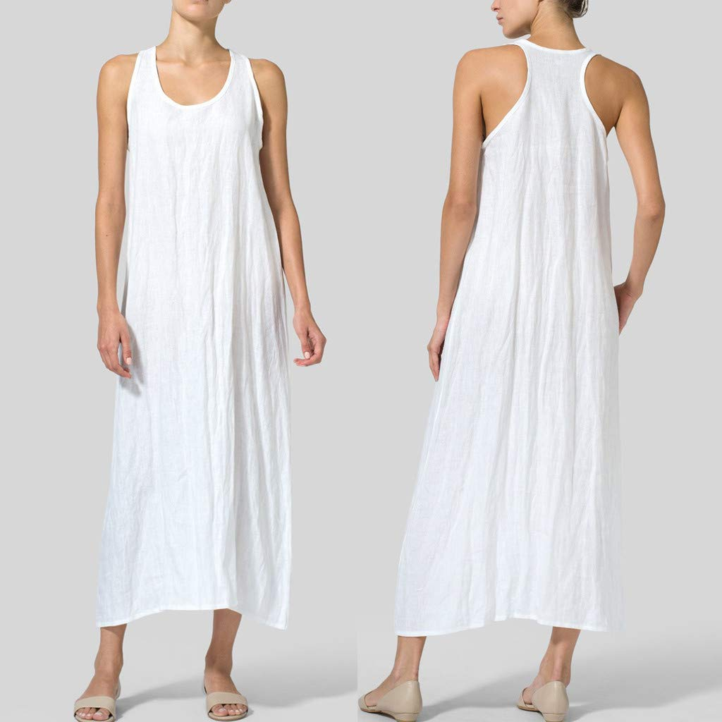 yoyorule Summer Dress Fashion Women Summer Solid U Neck Sleeveless Cotton and Linen Casual Maxi Dress