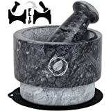 Marble Mortar and Pestle Set - [5.5 Inch, 17 Oz] Unique Double Sided - Pestle and Mortar Bowl Solid Stone Grinder - Guacamole Mortar and Pestle Large - INCLUDED: Silicone Lid/Mat and Spoon