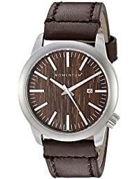 Men's Quartz Watch | Logic 42 by Momentum | Stainless Steel Watches for Men | Sports Watch with Japanese Movement & Analog Display | Water Resistant watch with Date – Wood/Brown Leather