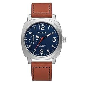 Gaiety Tonneau Men's Dress Watches Leather Strap Analog Quartz Arabic Numbers G454 (Brown band+blue dial)