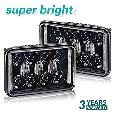 CO LIGHT 2pcs 4x6 Inch LED Headlights DOT Approved 73W Rectangular Replacement H4651 H4652 H4656 H4666 H6545 for Peterbil Kenworth Freightinger Ford Probe Chevrolet Oldsmobile (1002WM-Black-2pcs): Automotive