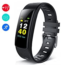 KEDA Fitness Tracker,Color Screen Activity Tracker Sport Band Bluetooth Calorie Counter Smart Watch with Heart Rate Monitor Pedometer for iOS and Android (Black)