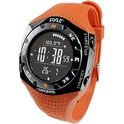 Pyle Sports PSKIW25O Ski Master V Professional Ski Watch w/Max. 20 Ski Logbook, Weather Forecast, Altimeter, Barometer, Digital Compass,Thermometer (Orange Color)