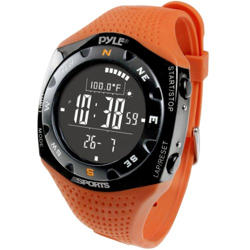 - Multifunction Skiing Sports Training Watch - Smart Classic Fit Sport Digital Fitness Gear Wrist Tracker w/ Chronograph, Timer, Alarm, Altimeter, Barometer, For Men and Women - Pyle PSKIW25O (Orange)