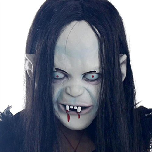 Sinma【Ghost Mask】Latex Creepy Scary Toothy Zombie with Hair for Cosplay (Halloween Masks Scary)