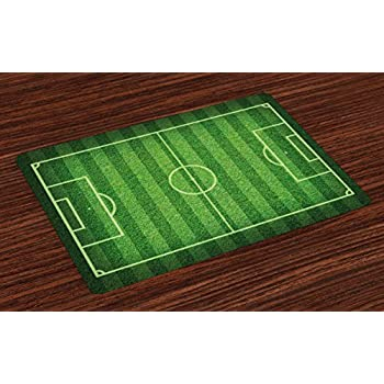 green grass soccer field. Lunarable Boy\u0027s Room Place Mats Set Of 4, Realistic Green Grass Soccer Field  Sports Hobby Green Grass Soccer Field I