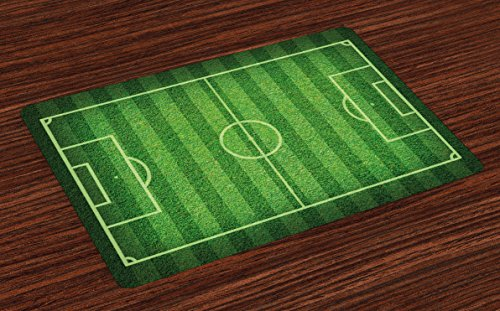 Lunarable Boy's Room Place Mats Set of 4, Realistic Green Grass Soccer Field Sports Hobby Competition Field, Washable Fabric Placemats for Dining Room Kitchen Table Decoration, Lime Green Fern Green