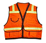 Mutual Industries 16333-45-3 High Visibility Mesh Super Deluxe Surveyor Vest with 2 Vertical and 2 Horizontal 1-1/2'' Lime/Silver/Lime Reflective Stripes, Large, Orange