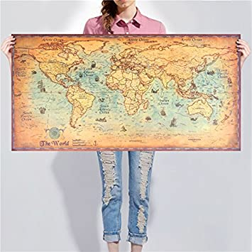 Amazon vintage wall sticker poster living room art crafts world vintage wall sticker poster living room art crafts world maps bar cafe pub paint 100x50cm large gumiabroncs Images