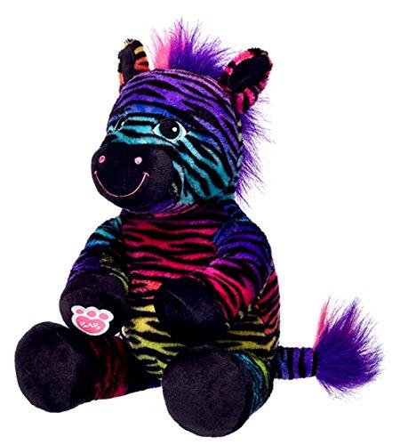 - Build a Bear Wild Style Zebra Black Rainbow Stripes 17in. Stuffed Plush Toy Animal