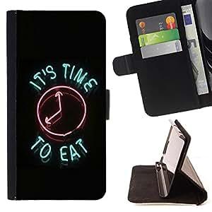 Devil Case- Estilo PU billetera de cuero del soporte del tir¨®n [solapa de cierre] Cubierta FOR HTC One M7- It's time to eat