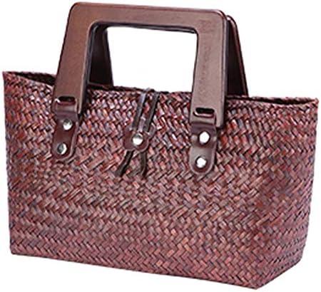 HUYHUY Stroh Gewebte Tasche Gewebte Tasche Holzgriff Damen Strandtasche