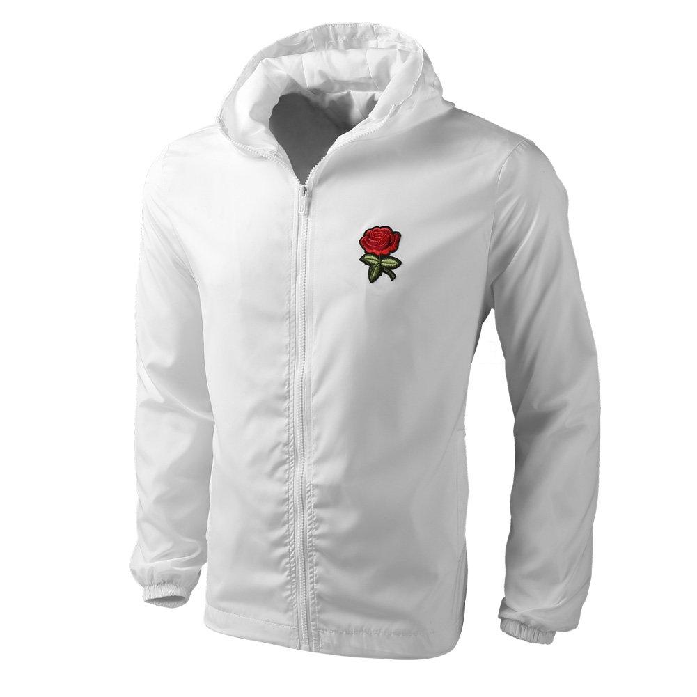 4ec6a62843 DAIKEN Rose Floral Jacket Windbreaker for Men Women Waterproof Windproof  College Jackets White at Amazon Men's Clothing store: