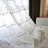 Aside Bside Birds Line Embroidered Cute Style Rod Pocket Top Sheer Curtains Transparent Window Decoration For Sitting Room Kids Room and Houseroom (1 Panel, W 52 x L 104 inch, White)