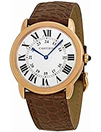 Ronde Solo De Cartier Silver Dial SS Leather Quartz Mens Watch W6701008
