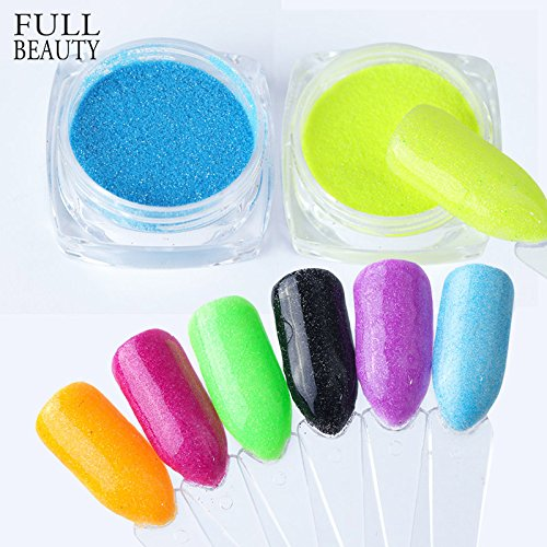 POYING Full Beauty 12 Colors Neon Nail Glitter Powder Candy Colorful Pigment Summer Fluorescent Dust For Nails Art Gel Decor CHST01-12 by POYING
