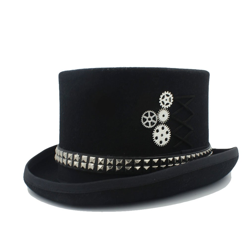 LL Women's Black Top Hat Fodora Steampunk Hat with Rivet Gears Top Hat (Color : 1, Size : 61cm)