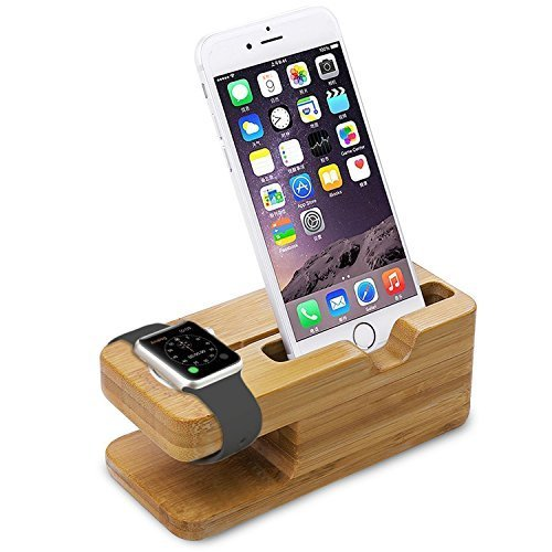 EAS Apple Watch Stand, iWatch Bamboo Wood Charging Stand Bracket Docking Station Stock Cradle Holder for Both 38mm and 42mm SJJ02 (8 Mm Apple)