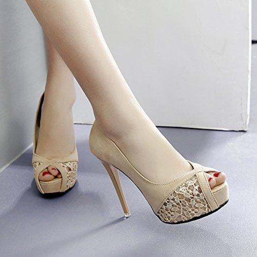 VIVIOO Hochhackige Schuhe Hochhackige Sandalen Sommer Hochhackige Fischkopfschuhe Damen Spitze Wild Füße Wasserdichte Plattform Fein Mit Nachthemden Sandalen Aprikose Apricot 12cm