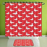 Waterproof Shower Curtain and Bath Rug Set Geese Decor Collection Duck Silhouette Domestic Poultry Birds Fun Illustration Artistic...