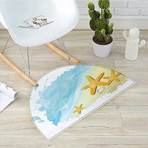 Starfish Half Round Door mats Artistic Beach Sand and Small Rocks Aquatic Life Animals Exotic Vacation Theme Bathroom Mat H 23.6