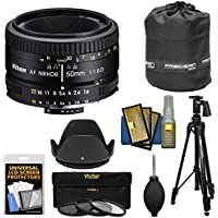Nikon 50mm f/1.8D AF Nikkor Lens with 3 UV/CPL/ND8 Filters + Pistol Grip Tripod + Pouch Kit for D7100, D7200, D610, D750, D810 Cameras