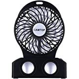 Rechargeable Battery Operated Fan with Bluetooth Speaker 3 Speeds Portable Mini Desktop Fan, Personal Cooling for Traveling, Camping, Picnic