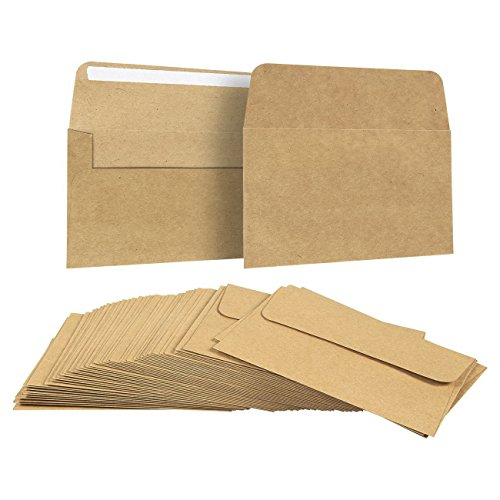 50 Pack Brown Kraft Paper A4 Envelopes for 4 x 6 Greeting Cards and Invitation Announcements - Value Pack Square Flap Envelopes - 4.2 x 6.2 Inches - 50 Count