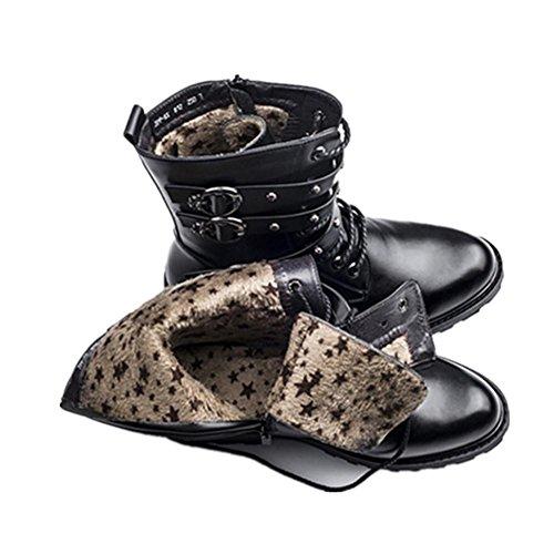 Hombres Otoño Invierno Ejército Botas británico Estampación Martín Zapatos Negro Cuero Algodón Vlevet Grueso Fondo Mantener Calentar Black