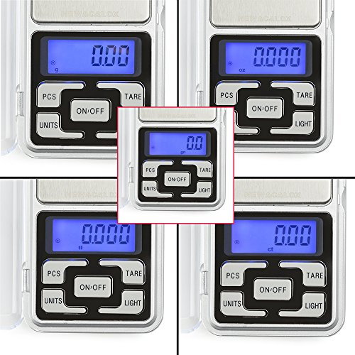 High Accuracy Mini Electronic Digital Pocket Scale Jewelry Diamond Gold Coin Calibration Weighing Balance Portable 500G/0.01G Counting Function Blue LCD by Simerst (Image #2)