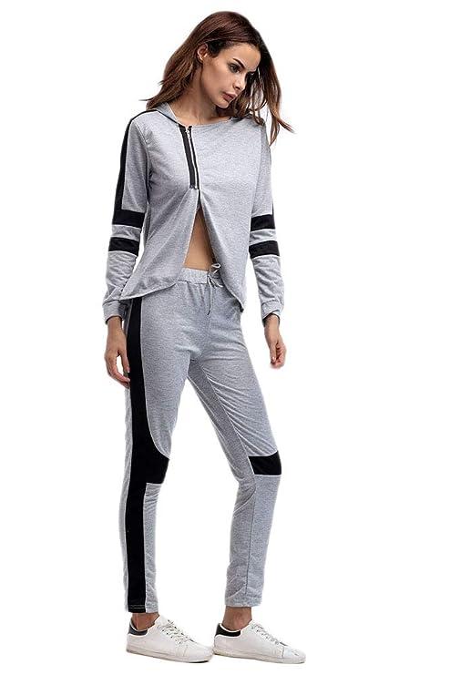 X-xyA Suéter de Mujer Patchwork Dividir Chándal de Dos Piezas ...