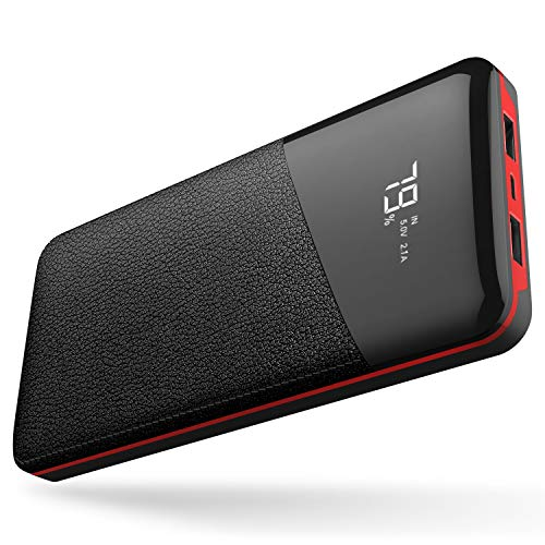VanSaTa Power Bank, 22400mAh Portable Phone Charger Musfun External Battery with LCD Screen, 2.1A Input Port, and 2 Charging Ports for Smart Phone, Tablets and Other Devices, Red