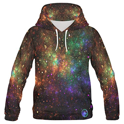 InterestPrint Custom colorful Galaxy Star Nebula Planet Men's Pullover Hoodies Sweatshirt free shipping