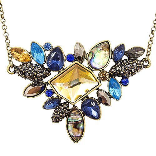 Lares Domi Vintage Gold-tone Crystal Incrusted Created Gemstones Classic Art Deco Style Pendant Necklace (Thank You Jewelery)