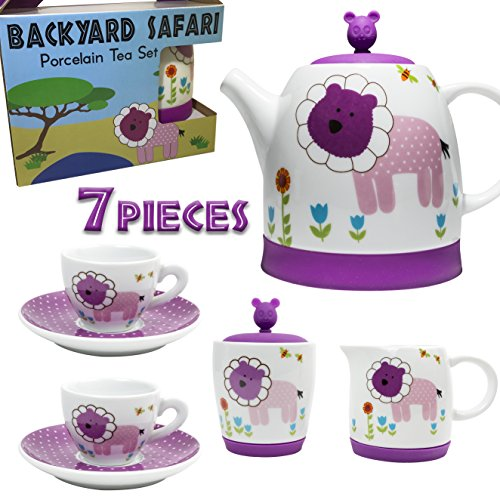 Pizza Time Invites (Premium 7 Piece Porcelain Kid's Tea Set - Enjoy hours of playtime fun - Backyard Safari design includes silicone lids to cushion and protect - Safe and BPA Free - Great gift for any child!)