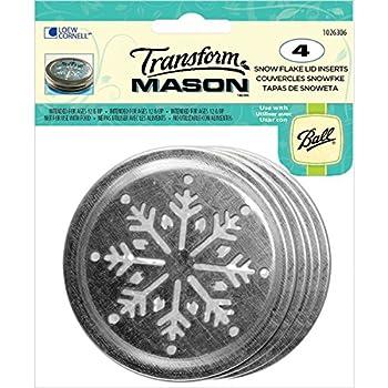 Loew-Cornell Transform Mason Ball Lid Inserts, Snowflake, 4/Pack