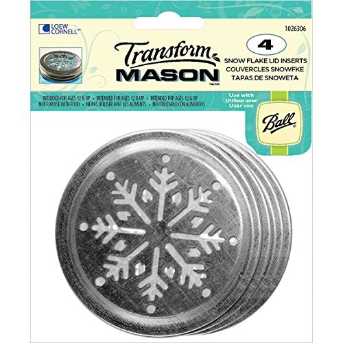 Snowflakes Pack (Loew-Cornell Transform Mason Ball Lid Inserts, Snowflake, 4/Pack)
