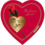 delicious assorted valentines chocolate red heart box 221g with chocolate edible rose