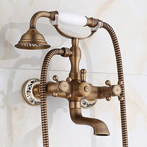 - Sprinkle Deck/Wall Mount Tub and Shower Faucet Three Handles Two Holes Bathtub Faucet Tub Filler with Hand Shower Ceramic Valve (Antique Copper)
