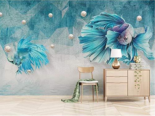 3D Wallpaper Non-Woven Premium Wallpaper3D Photo Mural Dark Blue Abstract Lines Guppies Jewels Background Wall Papers Home Decor 3D Wallpaper,150Cmx105Cm ()