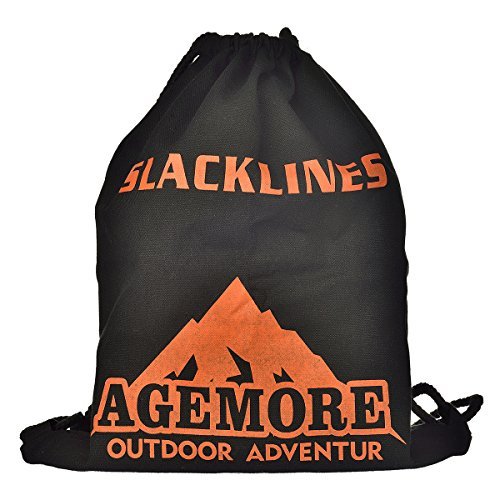 Agemore Slackline 50 Feet Classic Trick Line COMPLETE KIT with Trampoline Style webbing for Extra Bounce INCLUDES Tree Protection and Carrying Bag