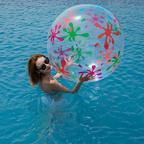 GonPi Toy Balls - 85cm Inflatable Transparent Beach Ball Outdoor Sport Ball Splash Play Swim Pool Water Toys PVC Vent Balls for Kids Inflated Toy