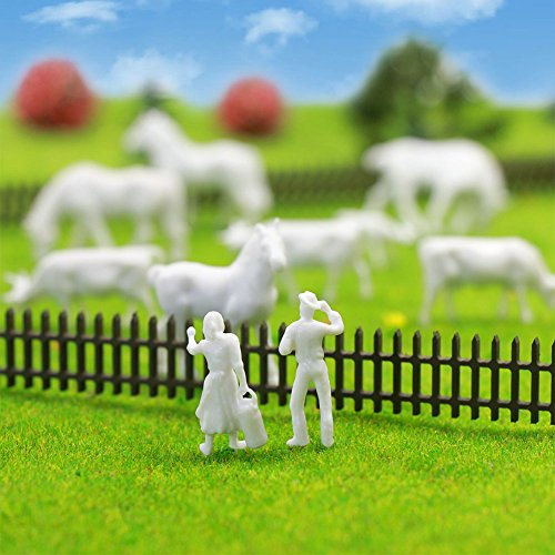 ファーム動物図おもちゃセット、an8706b未塗装ホワイト、馬、Figures牛ファーム動物の90pcs 1: 87HOスケールモデル列車景色レイアウトミニチュア新しい