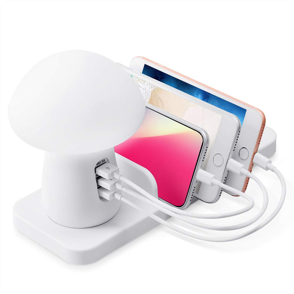 USB Ladestation für mehrere Geräte 3 Port Multi Mobile Ladestation USB Ladestation & Organizer für Smartphone Tablet MP4 und Fast Wireless Charging Organizer