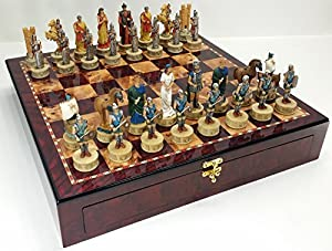 "Large Greek Mythology Battle of Troy Trojan War Spartan Chess SET Set w/ 20"" Cherry Color Storage Board"
