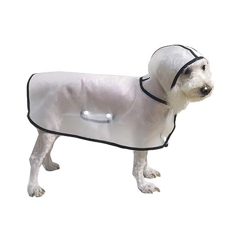 BbearT Perro Chubasquero de Mascota Ligero Transparente con Capucha Impermeable Chaqueta Abrigo para Perros Peque/ños Cachorro