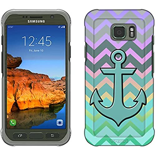 Samsung Galaxy S7 Active Case, Snap On Cover by Trek Anchor on Chevron Grey Green Turquoise on Rainbow Slim Case Sales