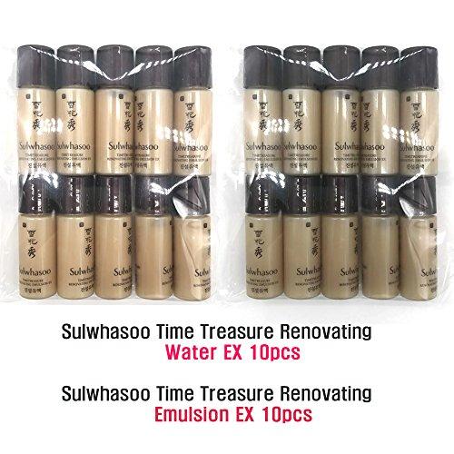 New Sulwhasoo Timetreasure Renovating Water Ex 10pcs & Emulsion 10pcs(100ml = 5ml X 20pcs) Premium Anti-aging