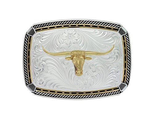 Montana Silversmiths Two Tone Fastened at All Four Corners Buckle with Longhorn Steer (32910YG-767M)